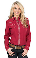 Ariat Women's Red with White Contrast Stitching Long Sleeve Western Snap Shirt