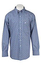 Ariat Men's Blue and Orange Print Western Shirt