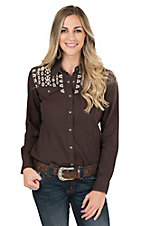 Ariat Women's Amy Dark Chocolate with Cream Embroidery Snap Long Sleeve Western Shirt