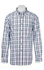 Ariat Pro Series Men's White, Purple, and Blue Plaid Western Shirt
