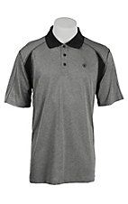 Ariat Men's Grey with Black Accents Short Sleeve Polo