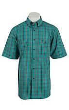 Ariat Men's Turquoise and Brown Plaid S/S Shirt