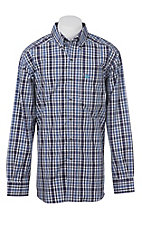 Ariat Pro Series Men's White, Black and Blue Plaid Western Shirt