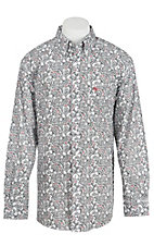 Ariat Men's White with Black and Red  Paisley Print Western Shirt