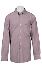 Ariat Pro Series Men's White, Red, and Black Mini Check Western Shirt