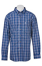 Ariat Pro Series Men's Blue, White, and Red Plaid Western Shirt - Big & Tall