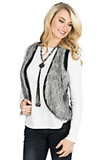 Ariat Women's Grey Faux Fur Black Knit Back Vest