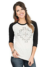 Ariat Women's White with Silver Stud Cross Design and Black 3/4 Sleeves Baseball Style Casual Knit Top