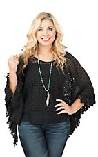 Ariat Women's Black Lace with Tassel Fringe Trim Poncho Fashion Top