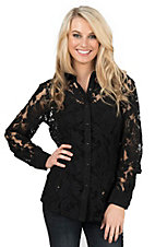 Ariat Women's Black Lace with Black Marbled Snaps Long Sleeve Western Snap Shirt