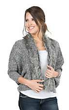 Ariat Women's Heather Grey with Fur Trim Long Sleeve Sweater