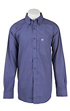 Ariat Men's Blue and Orange Mini Print Western Shirt