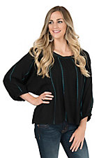 Ariat Women's Black with Turquoise Embroidery and Flowy 3/4 Sleeves Ali Fashion Top