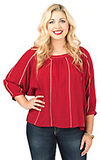 Ariat Women's Red with Cream Embroidery and Flowy 3/4 Sleeves Ali Fashion Top