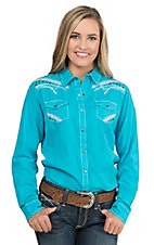 Ariat Women's Indie Turquoise with White and Silver Embroidery and Black Studs Long Sleeve Western Snap Shirt