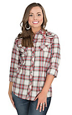 Ariat Women's Red, Turquoise, Black, and White Plaid with Contrast Stitching Long Sleeve Western Snap Shirt