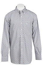 Ariat Men's White, Olive, and Purple Print Western Shirt