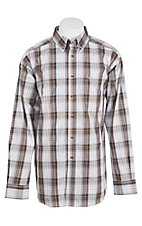 Ariat Men's Brown, Blue and White Plaid Western Shirt