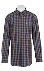 Ariat Pro Series Men's Brown, Blue, and White Plaid Western Shirt - Big & Tall