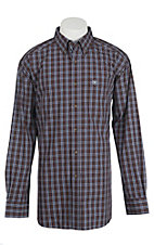Ariat Pro Series Men's Brown, Blue, and White Plaid Western Shirt