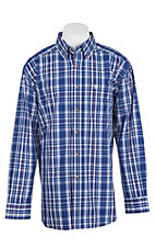 Ariat Men's Blue, White, and Orange Western Shirt