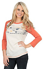 Ariat Women's White with Arrow Graphic Screen Print and Orange 3/4 Sleeves Baseball Styled Casual Knit Top