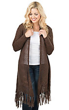 Ariat Women's Dark Chocolate with Fringe Hem and Long Sleeve Cardigan