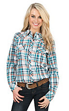 Ariat Women's Teal, Orange, White, and Silver Plaid With Rhinestones and Embroidery Long Sleeve Western Snap Shirt