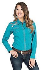 Ariat Women's Indie Turquoise with White, Orange, and Blue Arrow Embroidery Long Sleeve Western Snap Shirt