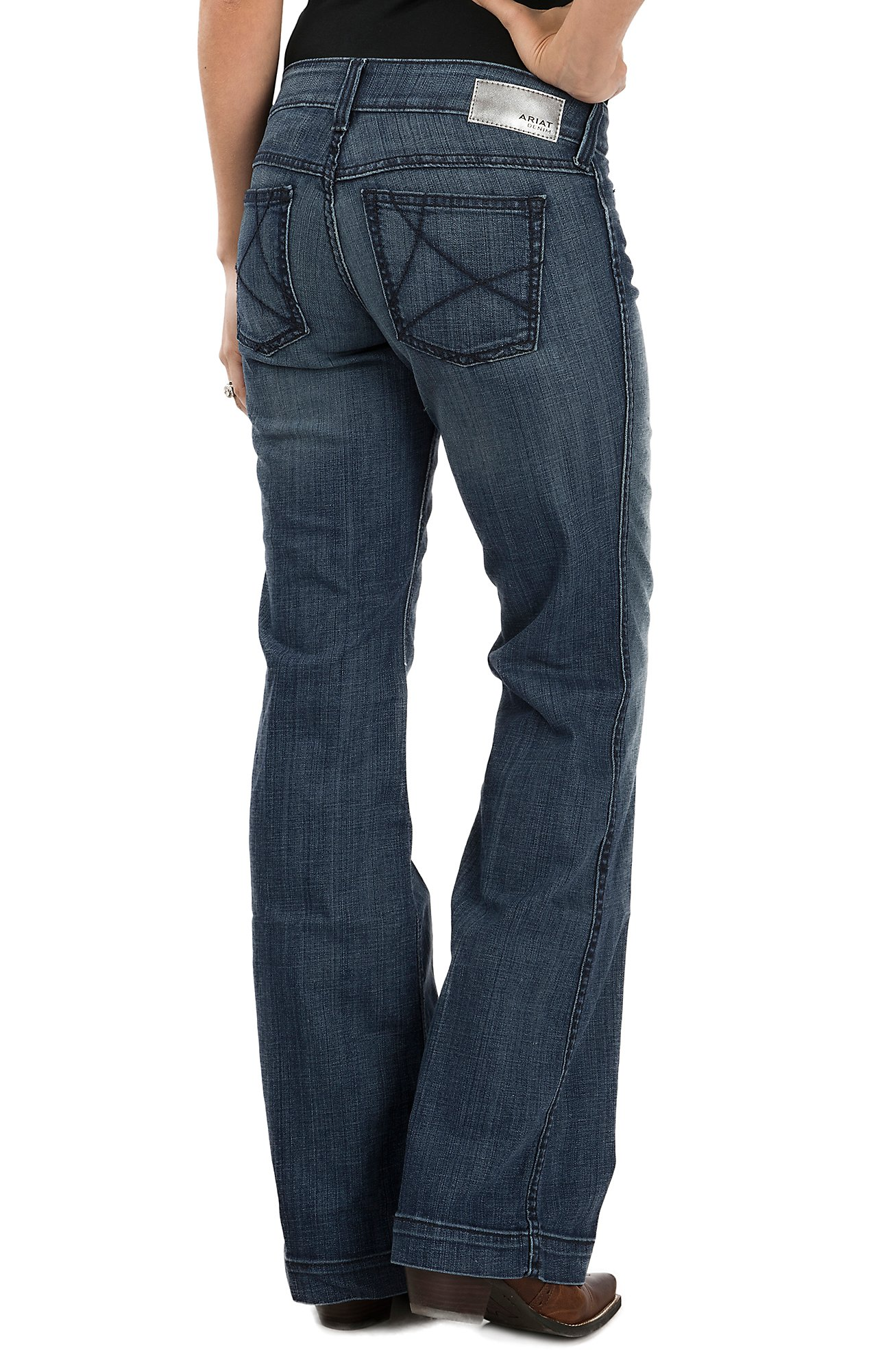Ariat Women's Mid Rise Wide Leg Dark Wash Trouser Jeans | Cavender's
