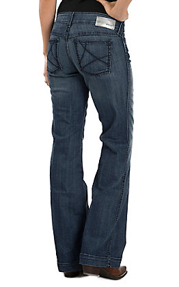 Ariat Women's Ella Bluebell Mid Rise Wide Leg Dark Wash Trouser Jeans