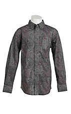 Ariat Boy's Grey with Black and Purple Paisley Print Western Shirt