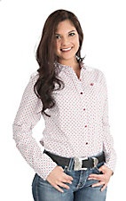 Ariat Women's White and Red Longhorn Print Long Sleeve Western Shirt