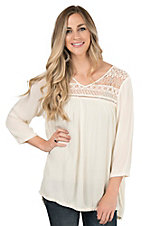 Ariat Women's Cream with Lace Trim 3/4 Sleeve Fashion Top