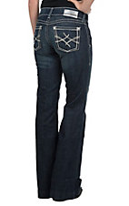 Ariat Women's Dark Wash Mid Rise Wide Leg Trouser Jean