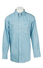 Ariat Men's White and Turquoise Print Long Sleeve Western Shirt