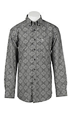 Ariat Men's Black and Grey Print L/S Western Shirt - Big & Tall