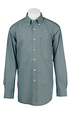 Ariat Men's Black and Turquoise Print Long Sleeve Western Shirt