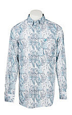 Ariat Men's White and Turquoise Paisley Print Long Sleeve Western Shirt - Big & Tall