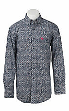Ariat Men's White and Navy Swirl Print Long Sleeve Western Shirt