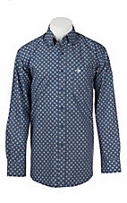 Ariat Men's Blue, Black, and White Print Long Sleeve Western Shirt