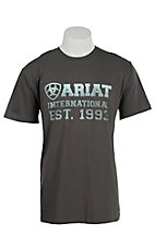 Ariat Men's Grey with Light Blue Screenprint Design T-Shirt