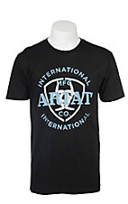 Ariat Men's Black with White and Blue Logo Screen Print Short Sleeve T-Shirt