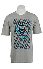 Ariat Men's Grey with Teal, black and  Blue Screenprint Design T-Shirt