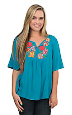 Ariat Women's Solid Turquoise with Multi Colored Floral Embroidery on Chest Short Bell Sleeve Fashion Top