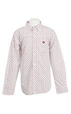 Ariat Boy's White and Red Steer Head Print L/S Western Shirt