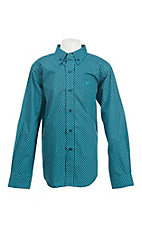 Ariat Boy's Blue and Black Circle Print L/S Western Shirt