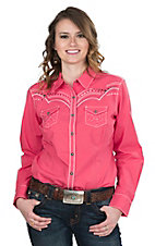 Ariat Women's Pink with Embroidered Details and Long Sleeves Western Snap Shirt