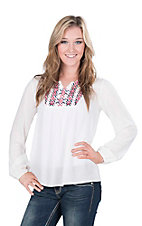 Ariat Women's White with Aztec Embroidered Yoke and Long Cinched Sleeve Fashion Top