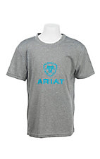 Ariat Boy's Grey with Teal Logo Short Sleeve T-Shirt